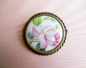 Limoges Brooch // P Pastaud //Antique Limoges Pin // Rose // NO Shipping Charges