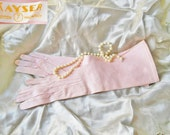 Vintage Gloves Pink 50s Long Cotton Prom Gloves by Kayser in Original Package---No Shipping Charges