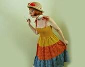 Vintage 1970s Sundress - 70s Calico Dress - Convertible Strapless