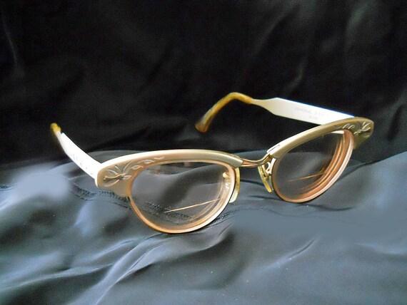 Eyeglasses 50s Vintage Cateye Glasses--Universal Frames--Matte Beige Aluminum----NO Shipping Charges