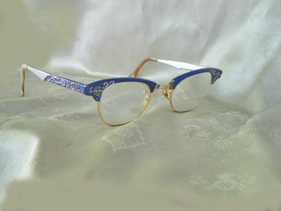 RESERVED------Eyeglasses 60s Modified Cateye Glasses Frames-Blue Artcraft-----No Charge for shipping