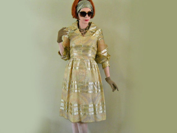 60s Dress // Gold Lame Overlay //  Dressy Shirtwaist // Holiday Sparkle // NO Shipping Charges