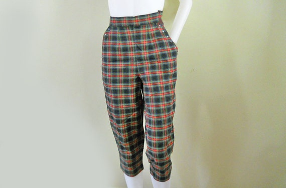 Capris // 50s Vintage Jantzen Pedal Pushers // Plaid with Rhinestones // Small // No Shipping Charges