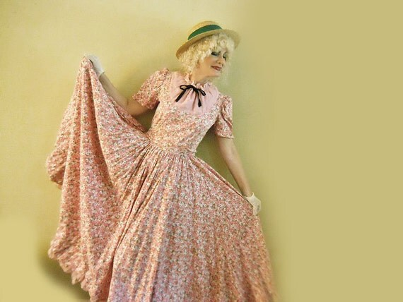 50s Costume Dress Long Cosplay Pink Floral Prairie Dress