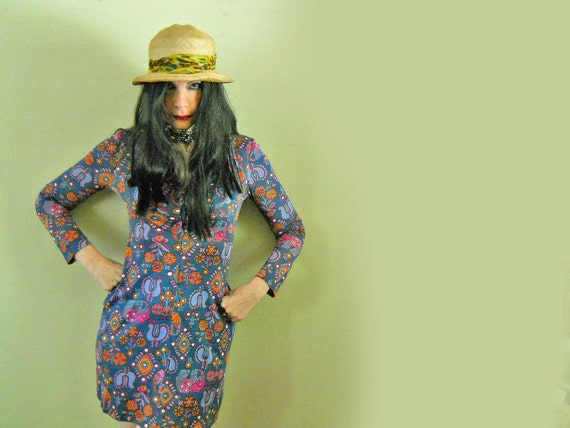 70s Dress Vintage Mini Dress Hippie Chic