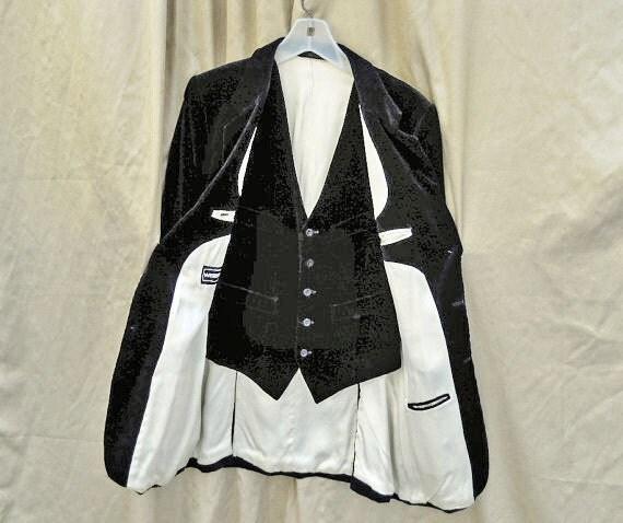 Mens Jacket & Vest // 80s Black Vintage Velveteen Blazer and Vest Ensemble // White Satin Lining