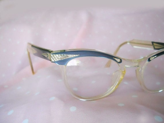 Cateye Frames // 50s Vintage Eyeglasses // Blue Moonglow // Rockabilly // No Shipping Charges