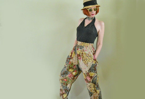 """RESERVED--80s Pants // Baggy Rayon Pants // Beaded """"Hammer"""" Pants // Baggies // NO Shipping Charges"""