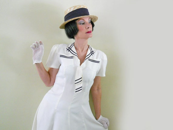 RESERVED--Sailor Dress // 30s Rayon Dress // White Vintage Dress // NO Shipping Charges