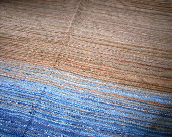 Extra Large Handwoven  vintage look rag rug -7 ' x 10' custom colour, MADE TO ORDER