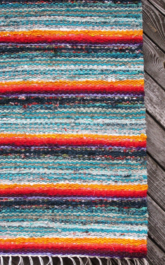 Handwoven rag rug - 2.1' x ,3.81'' Sage,Rainbow