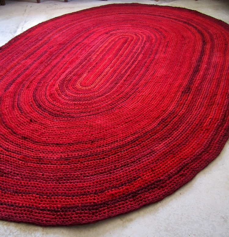 Oval Crochet RAG RUG Different Shades Of Red By Gunaspalete