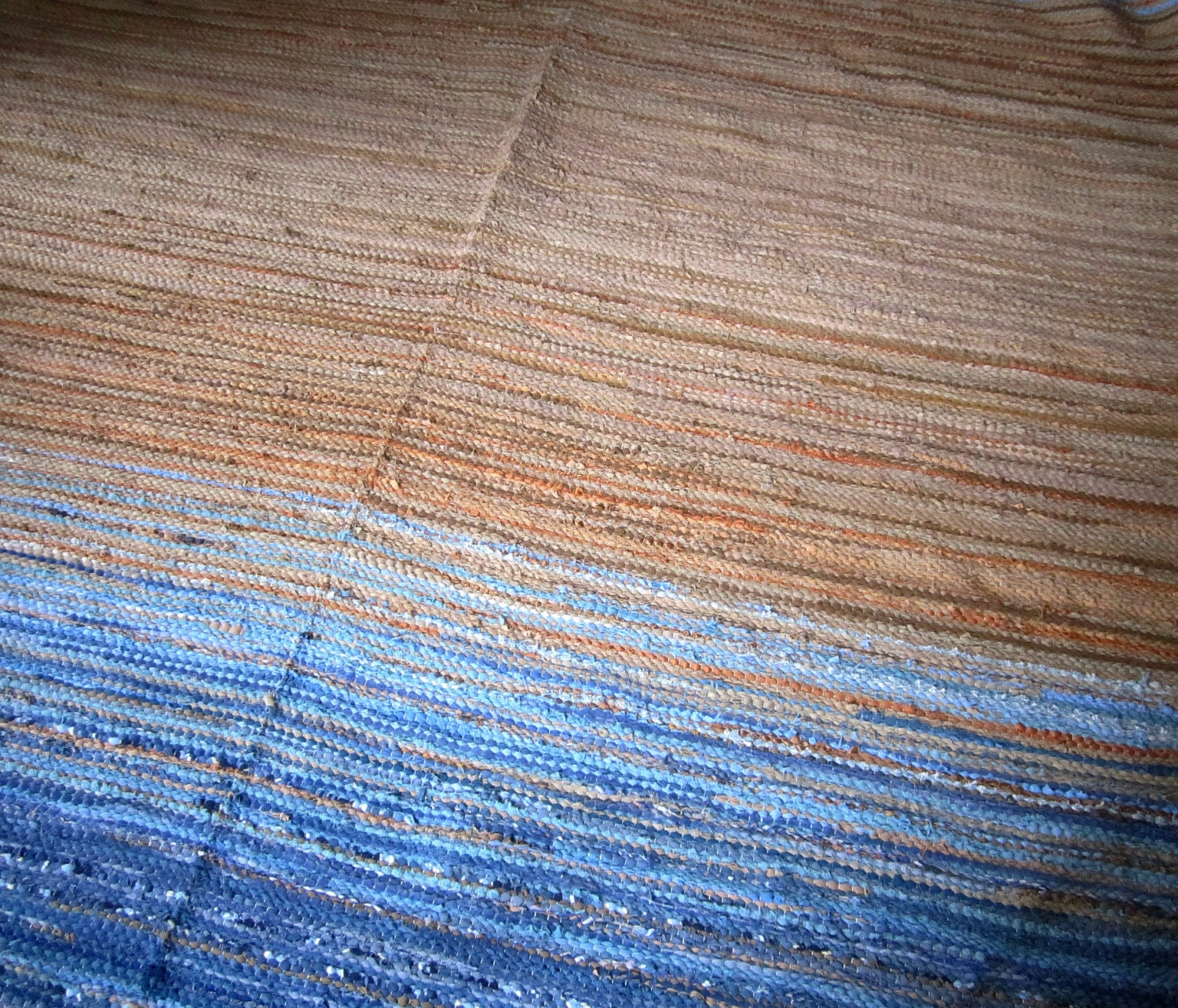 Extra large handwoven vintage look area rag rug 8 39 x for Custom made area rugs