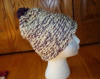 Reversible Slouchy Knit Hat- Purple & Cream