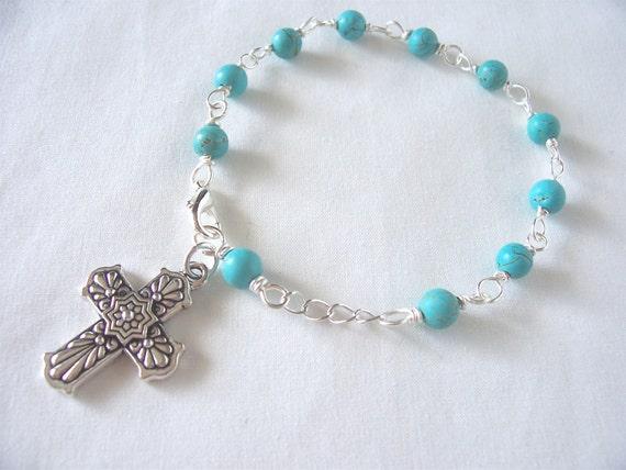 rosary bracelet turquoise rosary bracelet  cross bracelet  prayer beads catholic rosary October trends