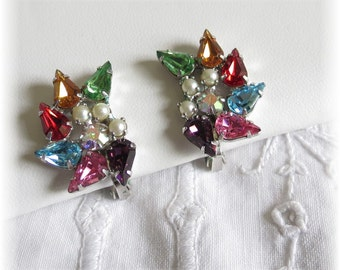 Colorful Signed Vintage Earrings by B. David