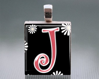 "Alphabet ""J"" Scrabble Tile Pendant with Silver Ball Chain"