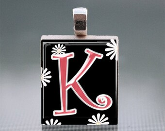 "Alphabet ""K"" Scrabble Tile Pendant with Silver Ball Chain"