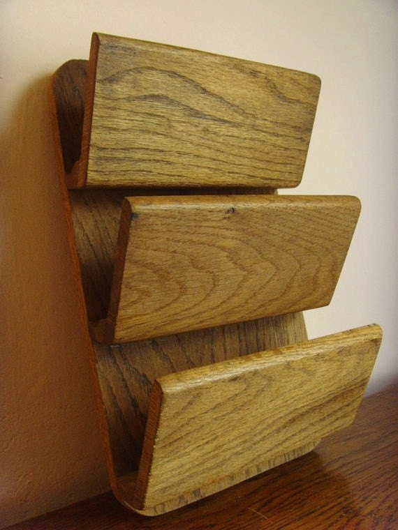 vintage three tier wooden wall letter holder by keepitretro With vintage wooden letter holder