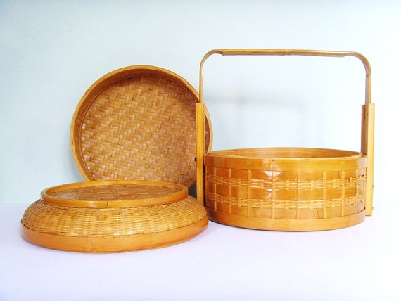 Vintage Chinese bamboo steamer