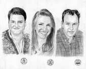 20% Discount Promo - Custom Original Charcoal Family Portrait From Your Photograph 16X12 - Best Birthday / Anniversary Gift Idea
