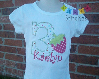 Sweet PINK Strawberry Birthday Shirt PERSONALIZED for free