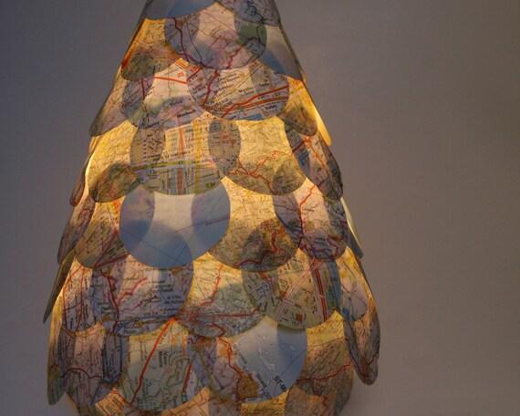 Road Map Table Lamp - Paper Shingles Covered Lantern Light