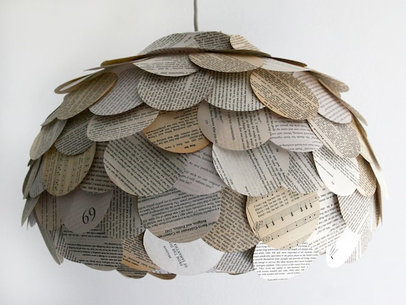Round Flat Mixed Book Page Pendant Light - Paper Lantern SHADE ONLY