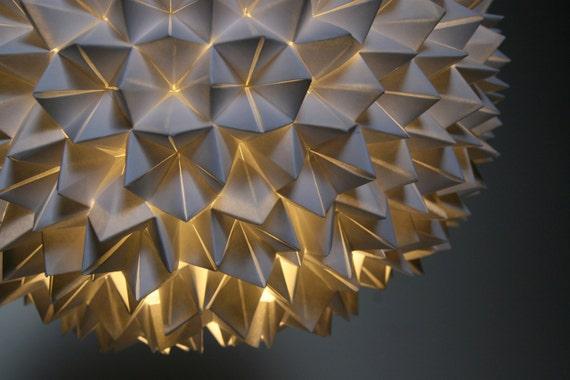 Small Faceted Pendant Light - White Folded Paper Hanging Sphere Lamp
