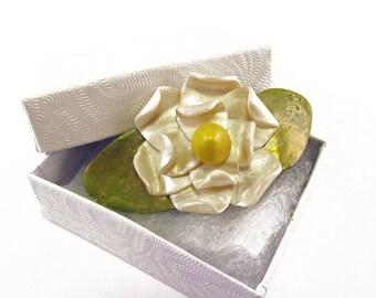 White Magnolia Brooch Pin