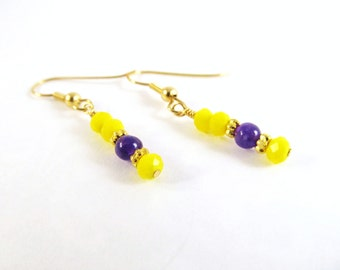 Purple Yellow and Gold Earrings