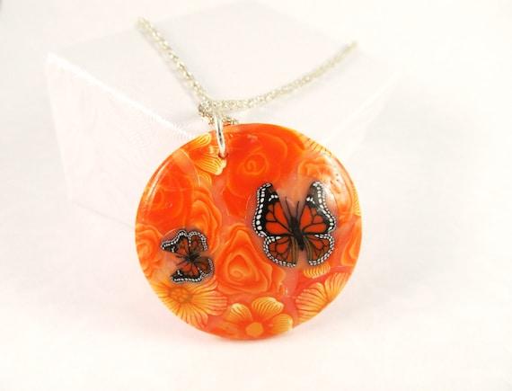 Orange Butterfly Pendant