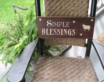 Country Primitive wooden sign - Simple Blessings - sheep sign
