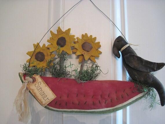 Crow, Sunflower and Watermelon Door/Wall hanger, Primitive Door Hanger