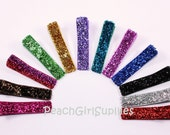25-GLITTER RIBBON-Partially Lined Single Prong Alligator Clips U Pick Color