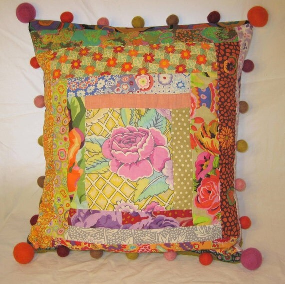 Hand quilted patchwork pillowcase