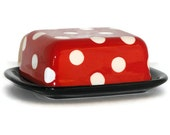 Ceramic Butter Dish in Retro Red and Black with White Polka Dots