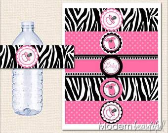 Hot pink and black zebra baby shower water bottle labels, zebra, hot pink and black, printable, digital file INSTANT DOWNLOAD