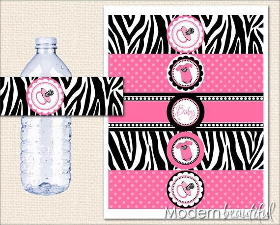 baby shower water bottle labels zebra hot pink and black printable