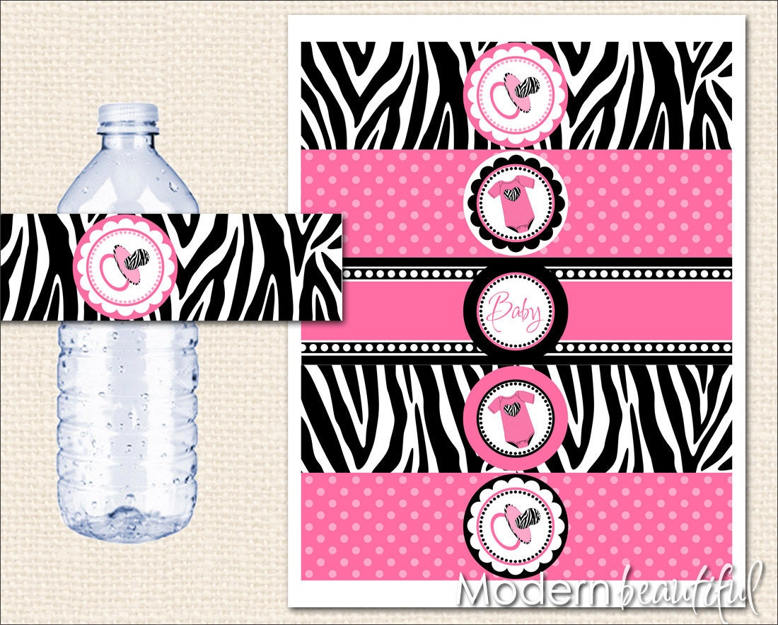 Hot pink and black zebra baby shower water bottle labels for Baby shower decoration free