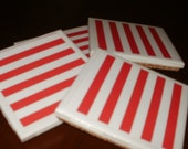 4 Red and White Awning Stripe Tile Coasters...For Drinks or Candles...Versitle and Fun