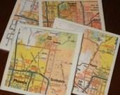 Map Coasters - Arizona Map Coasters...Including Phoenix and Scottsdale...Set of 4...Full Cork Bottoms NOT Felt