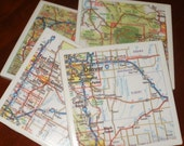 Drink Coasters...Colorado Road Map Coasters...Including Denver...Set of 4...For Drinks or Candles...Full Cork Bottoms NOT Felt