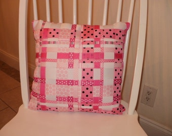 Sale...Woven Grosgrain Ribbon Throw Pillow....Pink...Decorative...FREE SHIPPING