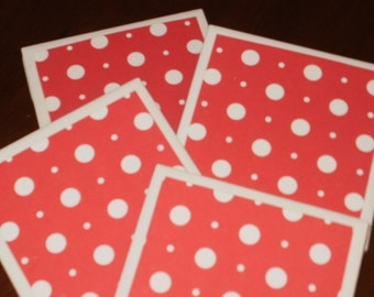 Polka Dot Tile Coasters...Set of 4...Red and White...For Drinks, Coffee or Candles