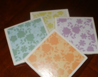 Floral Parfait Tile Coasters...Set of 4...For Drinks or Candles