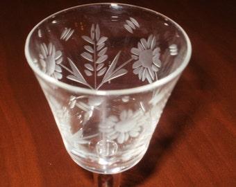 Sale...Vintage Liqueur Glasses...Etched...Set of 3