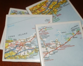 Long Island Road Map Coasters...Set of 4...Drink Coasters...For Drinks or Candles...Full Cork Bottoms NOT Felt...Great Gift
