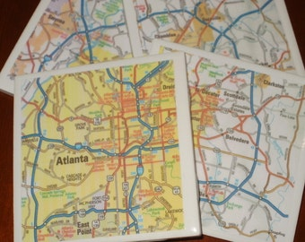 Map Coasters - Atlanta Road Map Coasters...Set of 4...For Drinks or Candles...Full Cork Bottoms NOT Felt