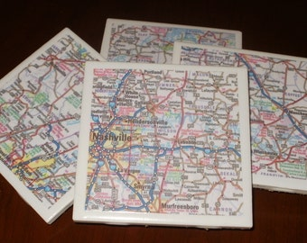 Tile Coasters - Tenn. Road Map Coasters...Including Nashville...Set of 4...For Drinks or Candles...Full Cork Bottoms NOT Felt